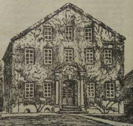 Zeichnung des Hauptgebäudes mit Efeu bewachsen